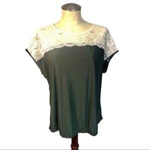 Faith & Joy Olive & Cream Lace Back Tie Blouse, XL